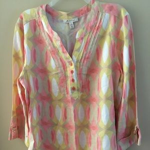 JM Collection Size 18 100% Linen Blouse